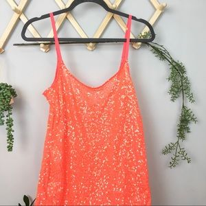 FREE PEOPLE // Neon coral sequin nightgown